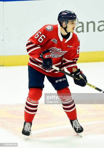 Nico Gross of the Oshawa Generals skates against the Mississauga Steelheads during game action on October 25 2019 at Paramount Fine Foods Centre in...