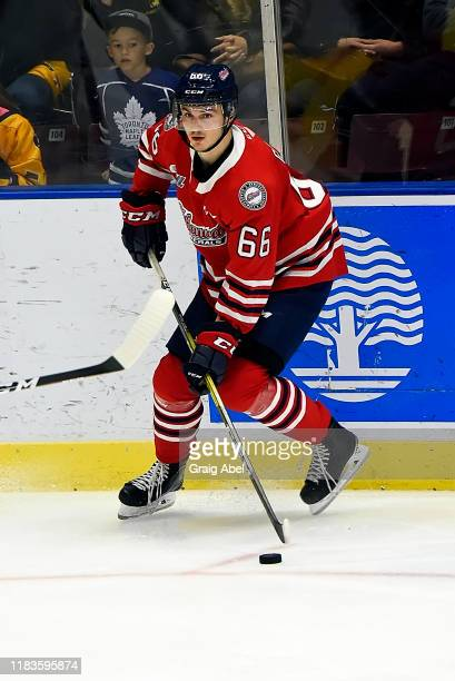 Nico Gross of the Oshawa Generals skates against the Mississauga Steelheads during game action on October 25, 2019 at Paramount Fine Foods Centre in...