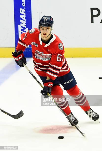 Nico Gross of the Oshawa Generals skates in warmup prior to a game against the Mississauga Steelheads on October 25, 2019 at Paramount Fine Foods...