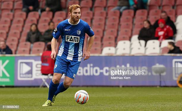 Nico Hammann of Magdeburg runs with the ball during the third league match between FC Energie Cottbus and 1.FC Magdeburg at Stadion der Freundschaft...