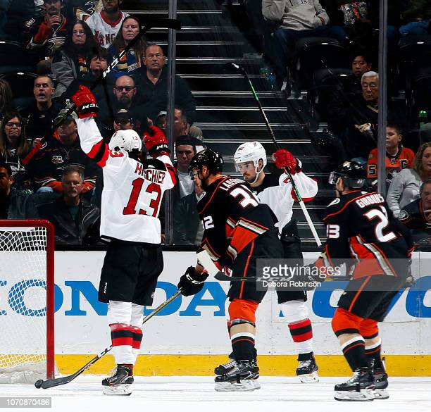 Nico Hischier and Marcus Johansson of the New Jersey Devils celebrate a  first period goal against c5c33c9ee