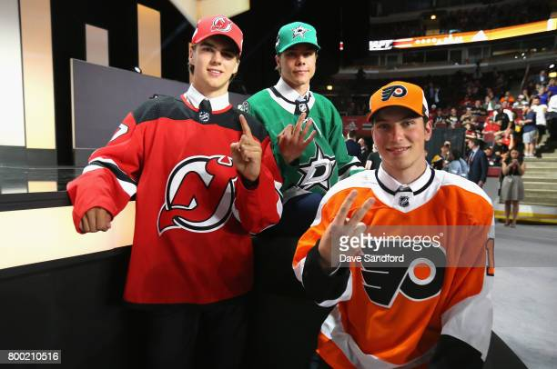 Nico Hischier first overall pick of the New Jersey Devils Miro Heiskanen third overall pick of the Dallas Stars and Nolan Patrick second overall pick...