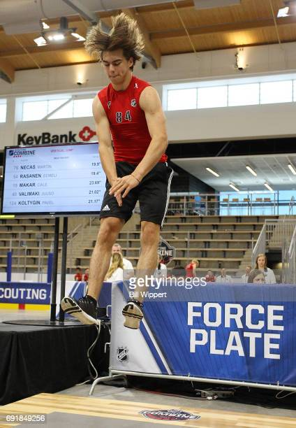 Nico Hischier jumps during the Force Plate test during the NHL Combine at HarborCenter on June 3 2017 in Buffalo New York