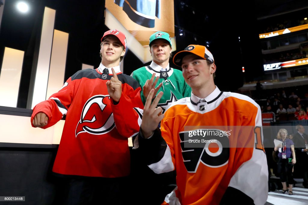 Nico Hischier, Miro Heiskanen, and Nolan Patrick pose for photos after being selected during the 2017 NHL Draft at the United Center on June 23, 2017 in Chicago, Illinois.