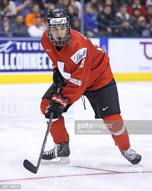 Nico Hischier of Team Switzerland skates against Team USA during a QuarterFinal game at the 2017 IIHF World Junior Hockey Championships at Air Canada...