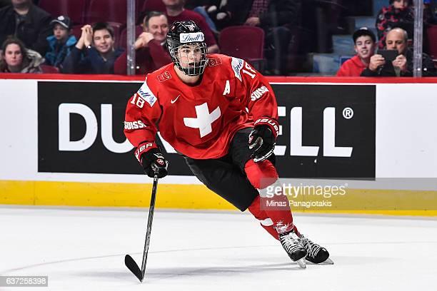 Nico Hischier of Team Switzerland skates during the 2017 IIHF World Junior Championship preliminary round game against Team Denmark at the Bell...