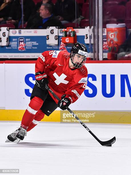 Nico Hischier of Team Switzerland skates the puck during the warmup prior to the 2017 IIHF World Junior Championship preliminary round game against...