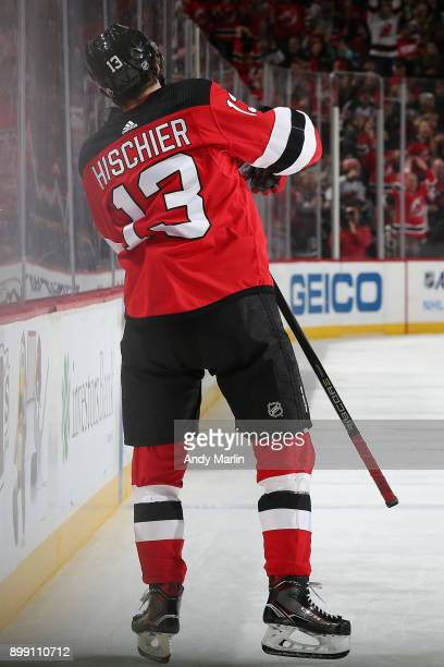 Nico Hischier of the New Jersey Devils celebrates his second goal of the first period during the game against the Detroit Red Wings at Prudential...