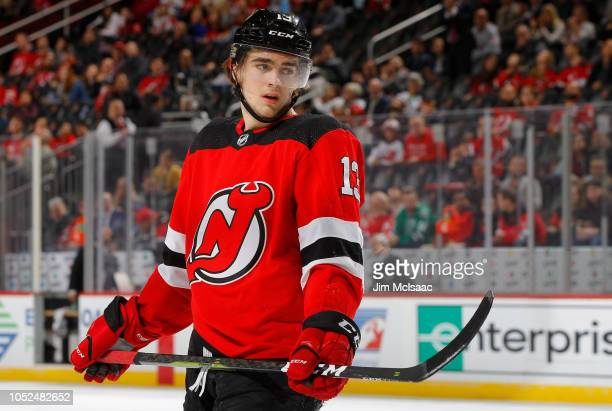 Nico Hischier of the New Jersey Devils in action against the Dallas Stars at Prudential Center on October 16 2018 in Newark New Jersey The Devils...