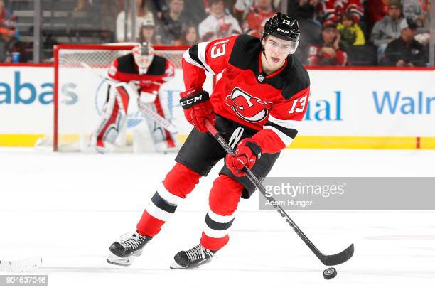 Nico Hischier of the New Jersey Devils in action against the Philadelphia Flyers during the second period at the Prudential Center on January 13 2018...