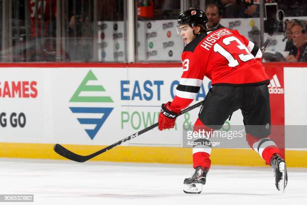Nico Hischier of the New Jersey Devils in action against the Philadelphia Flyers during the third period at the Prudential Center on January 13 2018...