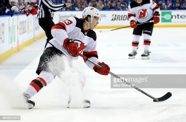 Nico Hischier of the New Jersey Devils shoots during Game One of the Eastern Conference First Round against the Tampa Bay Lightning during the 2018...