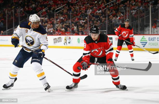 Nico Hischier of the New Jersey Devils skates against the Buffalo Sabres during the second period at the Prudential Center on December 29 2017 in...