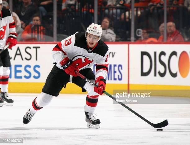 Nico Hischier of the New Jersey Devils skates against the Philadelphia Flyers at the Wells Fargo Center on October 09 2019 in Philadelphia...