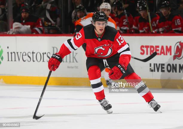 Nico Hischier of the New Jersey Devils skates against the Philadelphia Flyers during the game at Prudential Center on January 13 2018 in Newark New...