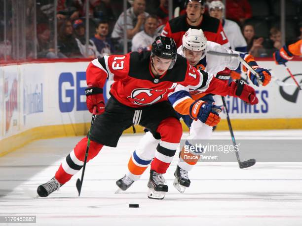 Nico Hischier of the New Jersey Devils skates against the New York Islanders at the Prudential Center on September 21 2019 in Newark New Jersey The...