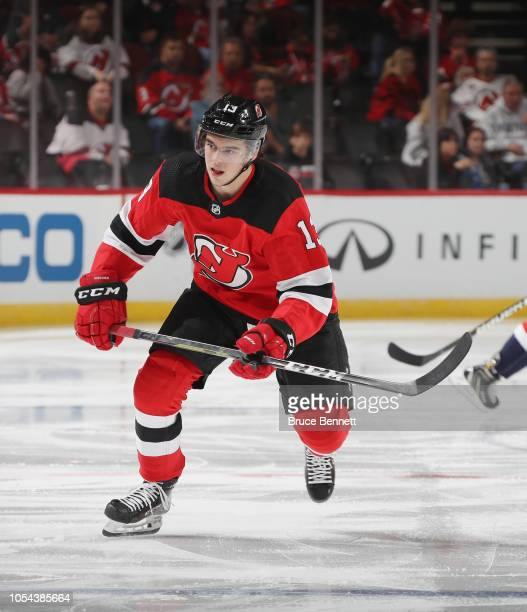 Nico Hischier of the New Jersey Devils skates against the Washington Capitals at the Prudential Center on October 11 2018 in Newark New Jersey The...