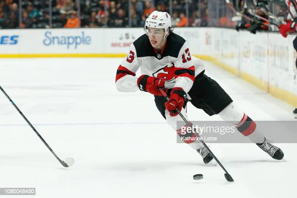 Nico Hischier of the New Jersey Devils skates down the ice against the Anaheim Ducks at Honda Center on December 09 2018 in Anaheim California