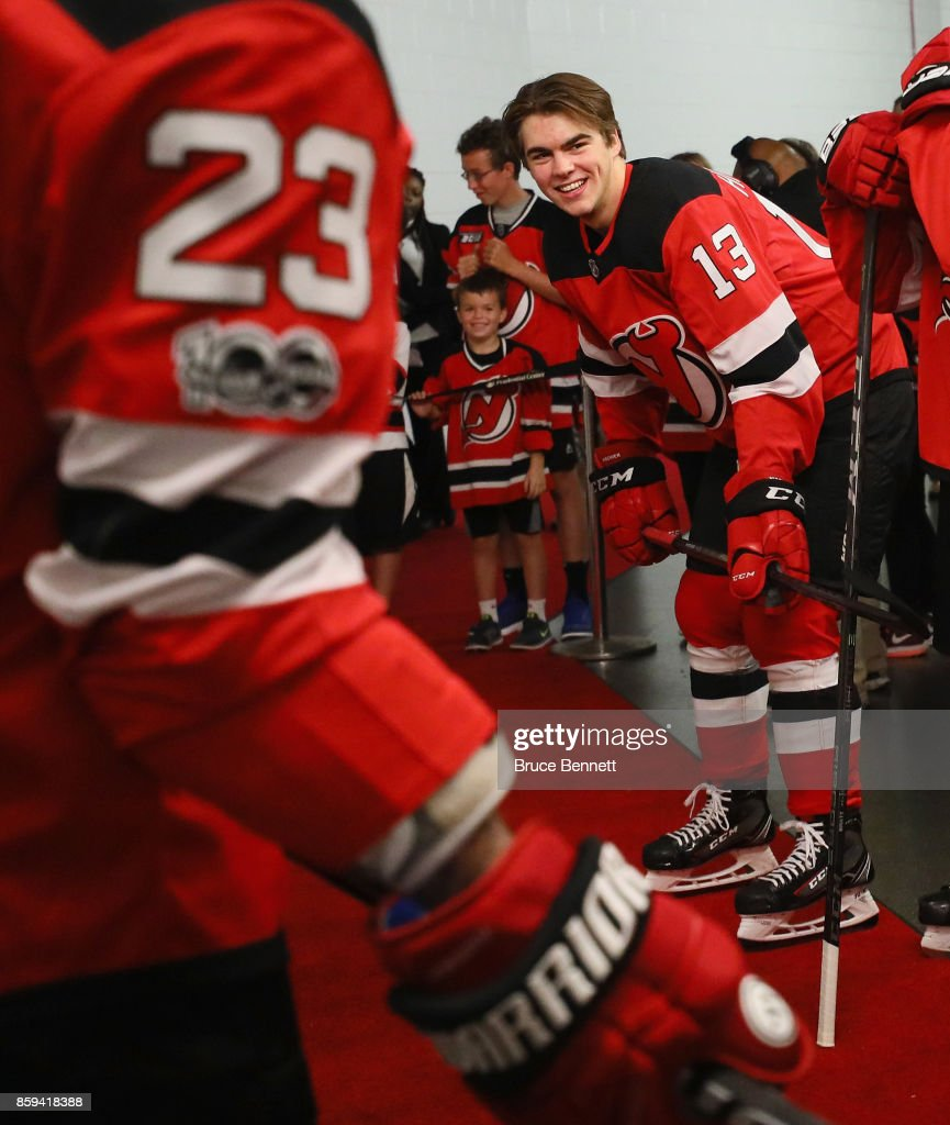 sale retailer db687 52da4 Nico Hischier of the New Jersey Devils skates in his first ...