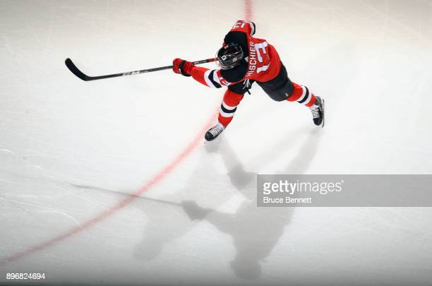 Nico Hischier of the New Jersey Devils skates in warmups prior to the game against the New York Rangers at the Prudential Center on December 21 2017...