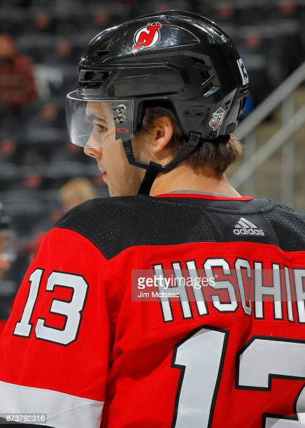 Nico Hischier of the New Jersey Devils warms up before a game against the St Louis Blues on November 7 2017 at Prudential Center in Newark New Jersey...