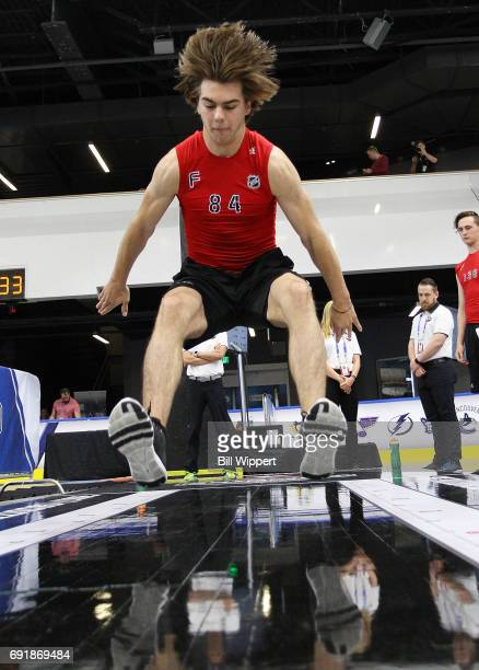 Nico Hischier performs the Long Jump during the NHL Combine at HarborCenter on June 3 2017 in Buffalo New York