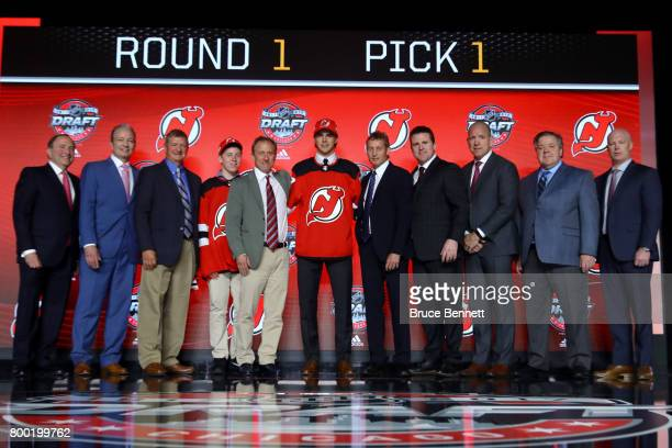 Nico Hischier poses after being selected first overall by the New Jersey Devils during the 2017 NHL Draft at the United Center on June 23 2017 in...