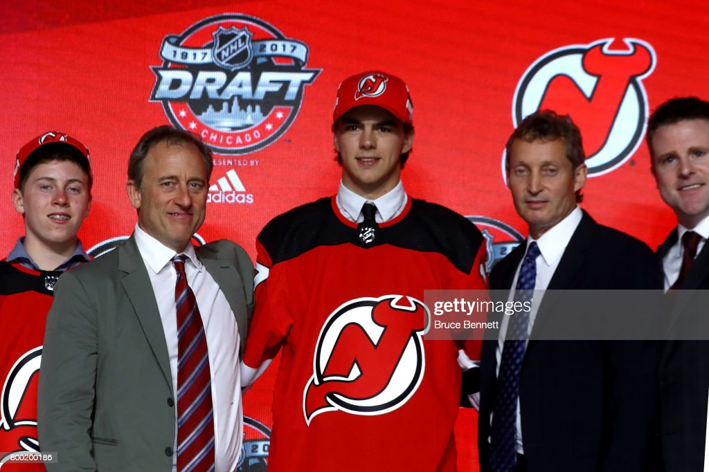 Nico Hischier poses for photos after being selected first overall by the New Jersey Devils during the 2017 NHL Draft at the United Center on June 23, 2017 in Chicago, Illinois.