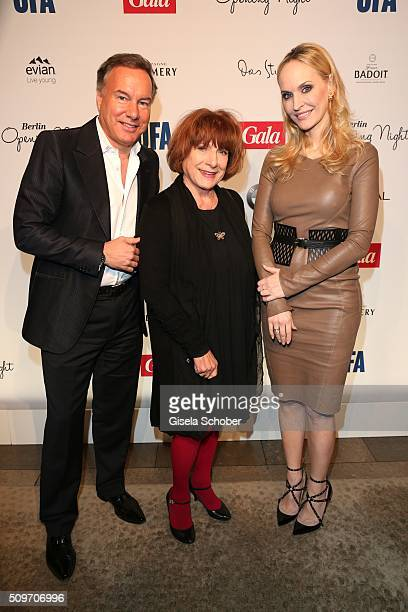 Nico Hofmann, Hannelore Hoger and Anne Meyer-Minnemann, editor in chief of Gala, during the 'Berlin Opening Night of GALA & UFA Fiction' at Das Stue...