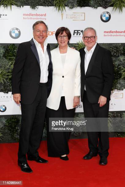 Nico Hofmann Heidrun TeusnerKrol and Joachim Krolduring the Lola German Film Award red carpet at Palais am Funkturm on May 3 2019 in Berlin Germany
