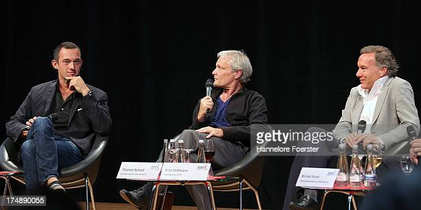Nico Hofmann the new Director from 2015 at the Nibelungen festival Thomas Schadt and Albert Ostermaier Author during a press conference on July 29...