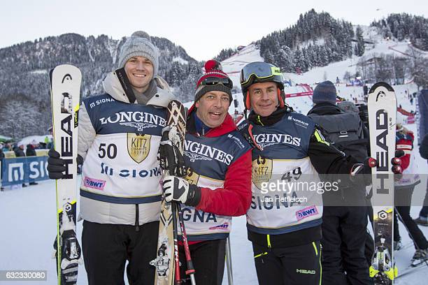Nico Huelkenberg Gregor Bloeb and Johan Eliasch pose for a picture during the KitzCharityTrophy on January 21 2017 in Kitzbuehel Austria