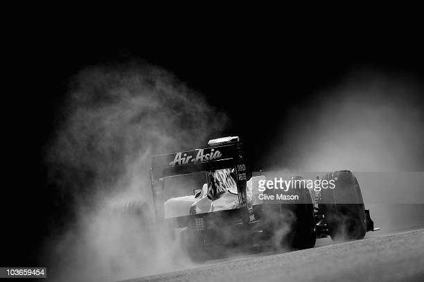 Nico Huelkenberg of Germany and Williams drives during practice for the Belgian Formula One Grand Prix at the Circuit of Spa Francorchamps on August...