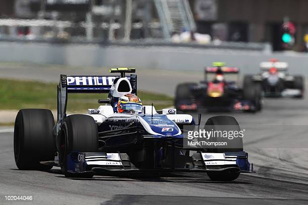 Nico Huelkenberg of Germany and Williams drives during the Canadian Formula One Grand Prix at the Circuit Gilles Villeneuve on June 13, 2010 in...