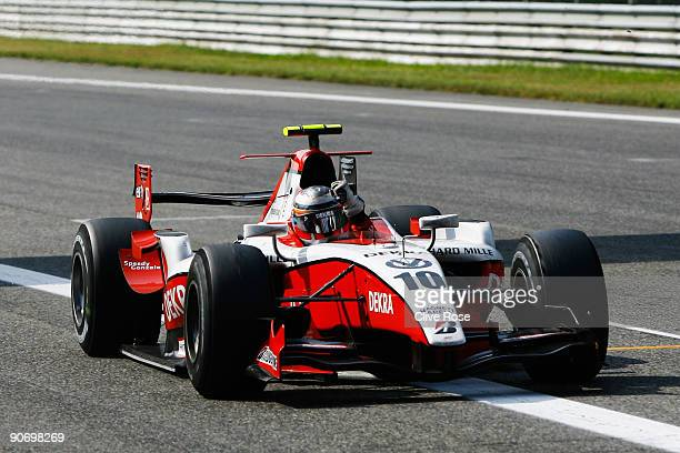 Nico Hulkenberg of Germany and ART Grand Prix celebrates as he wins the GP2 Series at the Autodromo Nazionale di Monza on September 13 2009 in Monza...