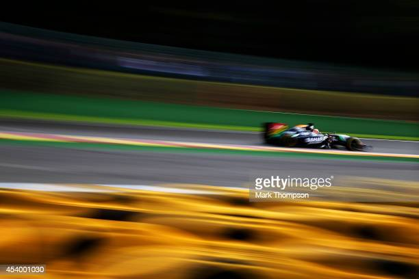 Nico Hulkenberg of Germany and Force India drives during final practice ahead of the Belgian Grand Prix at Circuit de SpaFrancorchamps on August 23...