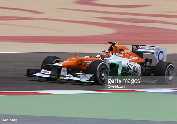 Nico Hulkenberg of Germany and Force India drives during practice for the Bahrain Formula One Grand Prix at the Bahrain International Circuit on...