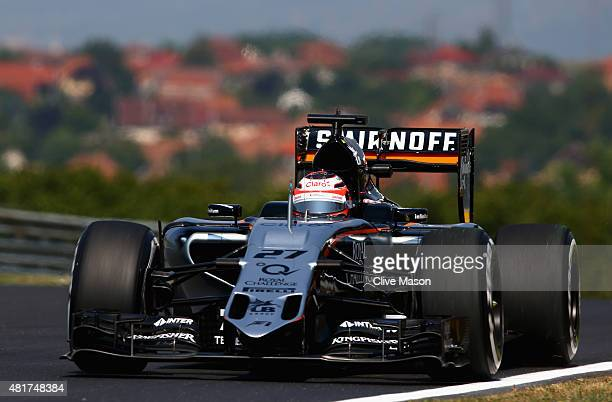 Nico Hulkenberg of Germany and Force India drives during practice for the Formula One Grand Prix of Hungary at Hungaroring on July 24 2015 in...