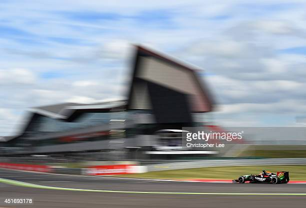 Nico Hulkenberg of Germany and Force India drives during practice ahead of the British Formula One Grand Prix at Silverstone Circuit on July 4 2014...