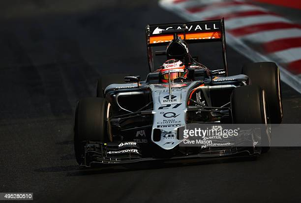 Nico Hulkenberg of Germany and Force India drives during the Formula One Grand Prix of Mexico at Autodromo Hermanos Rodriguez on November 1 2015 in...