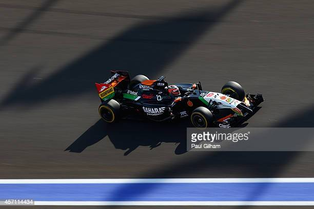 Nico Hulkenberg of Germany and Force India drives during the Russian Formula One Grand Prix at Sochi Autodrom on October 12 2014 in Sochi Russia