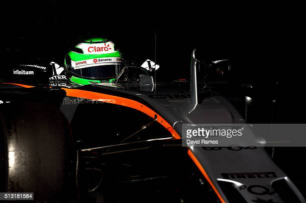 Nico Hulkenberg of Germany and Force India exits the garage during day one of F1 winter testing at Circuit de Catalunya on March 1 2016 in Montmelo...