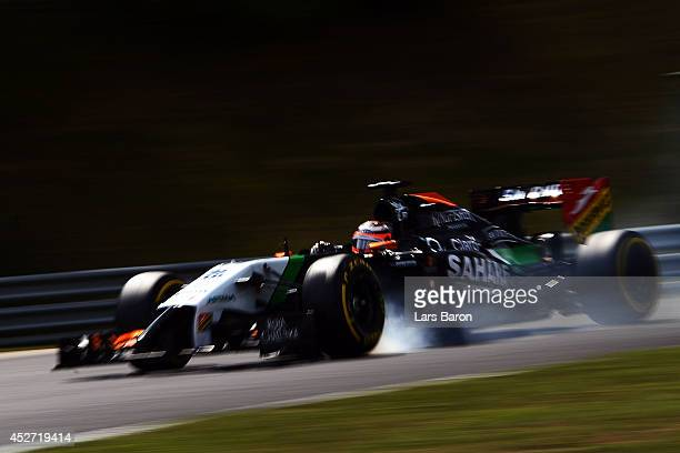 Nico Hulkenberg of Germany and Force India locks up during qualifying ahead of the Hungarian Formula One Grand Prix at Hungaroring on July 26 2014 in...