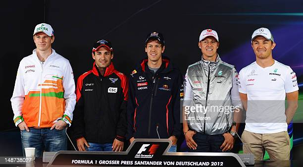 Nico Hulkenberg of Germany and Force India, Timo Glock of Germany and Marussia, Sebastian Vettel of Germany and Red Bull Racing, Michael Schumacher...