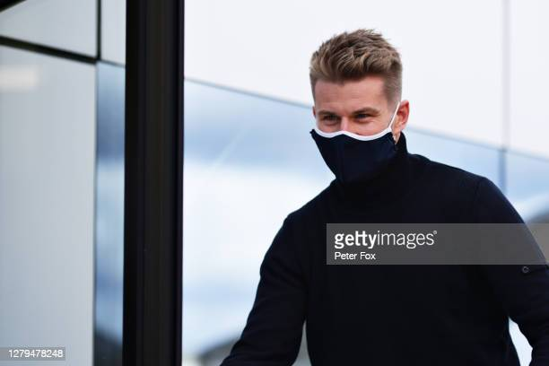 Nico Hulkenberg of Germany and Racing Point arrives in the Paddock as a possible replacement for the unwell Lance Stroll of Canada and Racing Point...