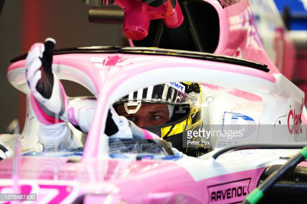 Nico Hulkenberg of Germany and Racing Point prepares to drive in the garage during qualifying ahead of the F1 Eifel Grand Prix at Nuerburgring on...