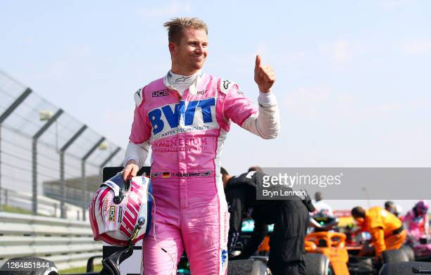 Nico Hulkenberg of Germany and Racing Point reacts in parc ferme during the F1 70th Anniversary Grand Prix at Silverstone on August 09, 2020 in...