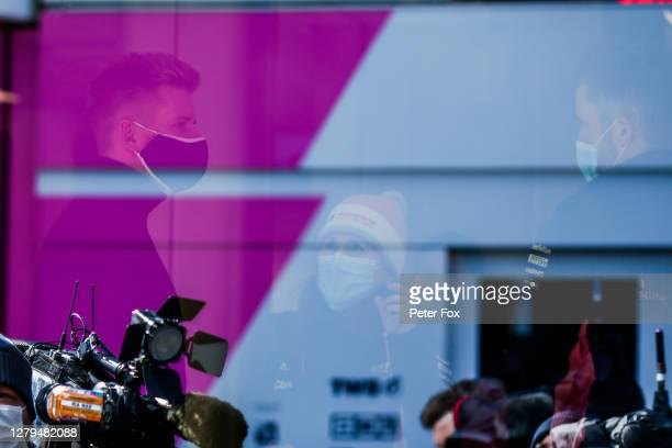 Nico Hulkenberg of Germany and Racing Point replaces Lance Stroll of Canada and Racing Point ahead of the F1 Eifel Grand Prix at Nuerburgring on...