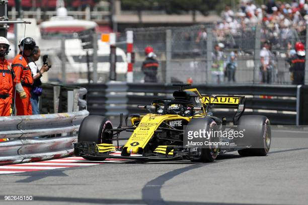 Nico Hulkenberg of Germany and Renault on track during practice for the Monaco Formula One Gran Prix
