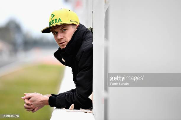 Nico Hulkenberg of Germany and Renault Sport F1 looks on from the pitwall during day four of F1 Winter Testing at Circuit de Catalunya on March 1...